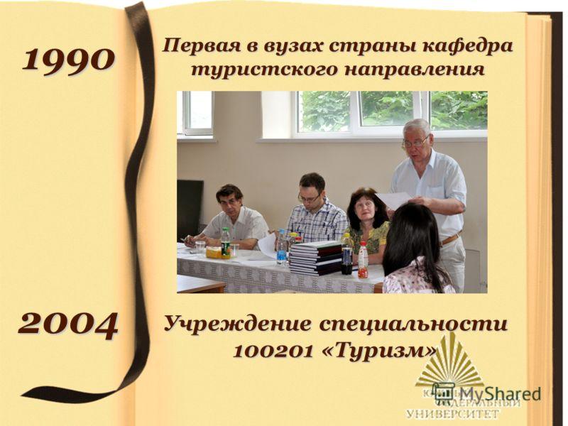 1990 2004 Первая в вузах страны кафедра туристского направления Учреждение специальности 100201 «Туризм»