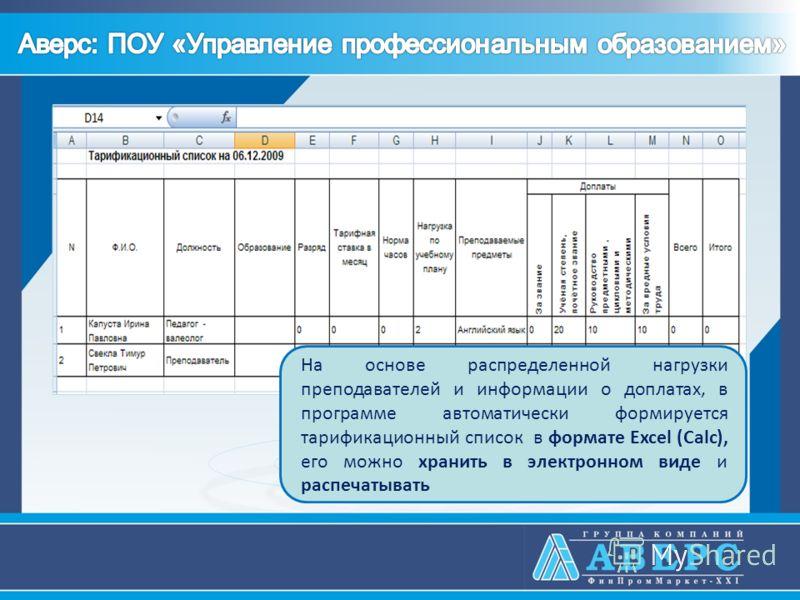 На основе распределенной нагрузки преподавателей и информации о доплатах, в программе автоматически формируется тарификационный список в формате Excel (Calc), его можно хранить в электронном виде и распечатывать
