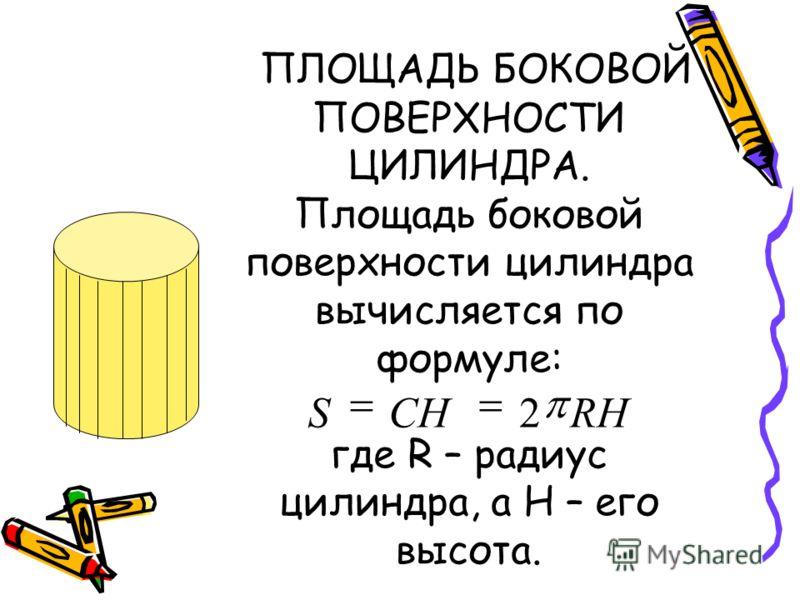 ПЛОЩАДЬ БОКОВОЙ ПОВЕРХНОСТИ ЦИЛИНДРА. Площадь боковой поверхности цилиндра вычисляется по формуле: где R – радиус цилиндра, а H – его высота. RHCHS 2