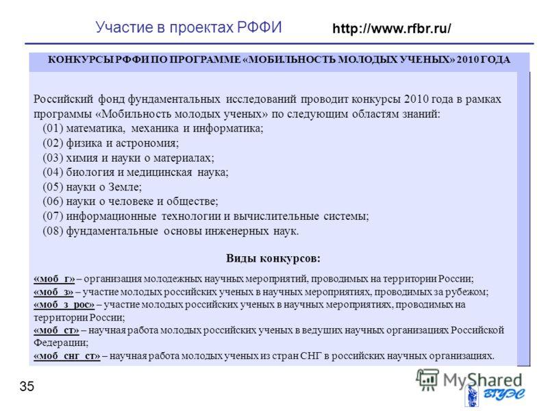 35 Участие в проектах РФФИ http://www.rfbr.ru/ КОНКУРСЫ РФФИ ПО ПРОГРАММЕ «МОБИЛЬНОСТЬ МОЛОДЫХ УЧЕНЫХ» 2010 ГОДА Российский фонд фундаментальных исследований проводит конкурсы 2010 года в рамках программы «Мобильность молодых ученых» по следующим обл