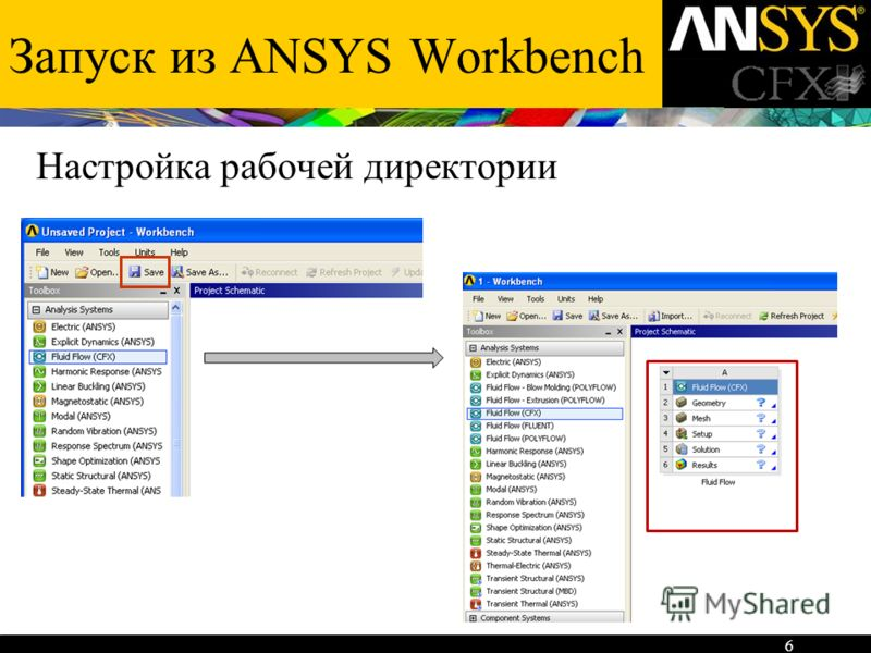 Запуск из ANSYS Workbench 6 Настройка рабочей директории