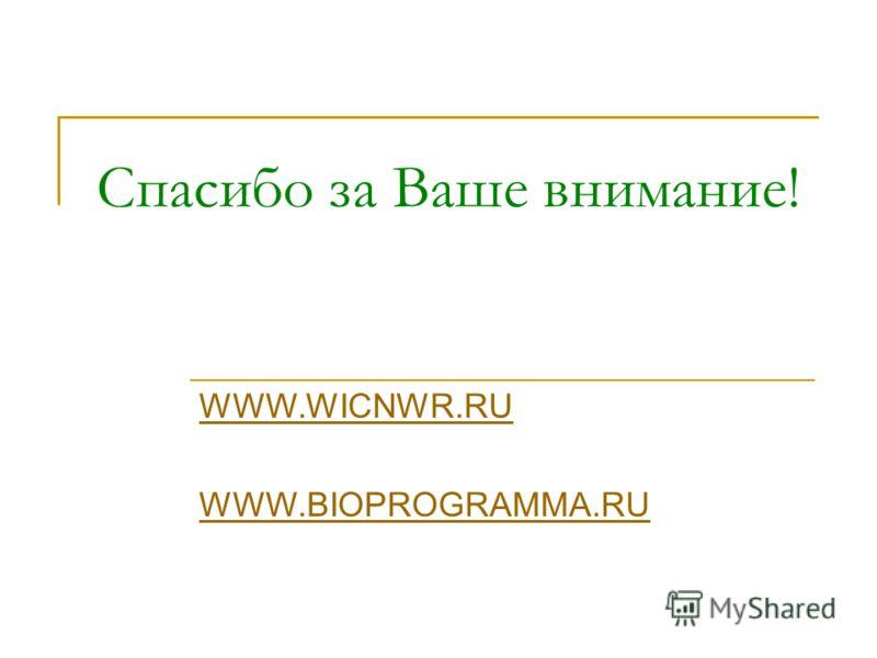 Спасибо за Ваше внимание! WWW.WICNWR.RU WWW.BIOPROGRAMMA.RU