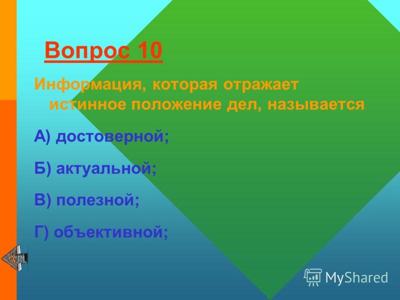 Вопрос 9 Аудиоинформация передаётся посредством: А) переноса вещества; Б) звуковых волн. В) световых волн; Г) электромагнитных волн.