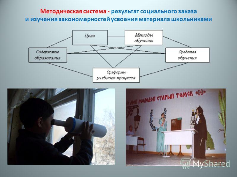 Методическая система - результат социального заказа и изучения закономерностей усвоения материала школьниками