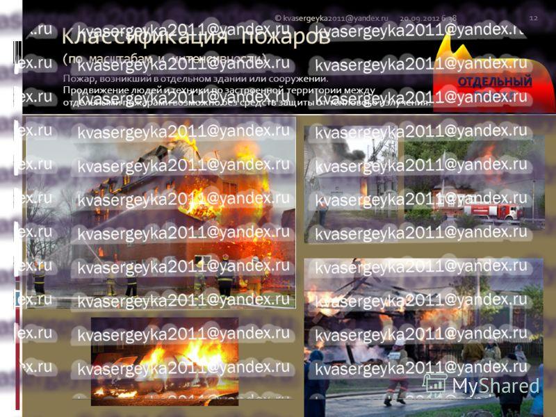 Классификация пожаров (по масштабам и интенсивности) Пожар, возникший в отдельном здании или сооружении. Продвижение людей и техники по застроенной территории между отдельными пожарами возможно без средств защиты от теплового излучения. 20.09.2012 6: