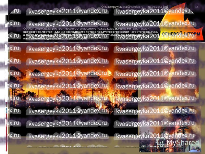 Особая форма распространяющегося сплошного пожара, характерными признаками которого являются наличие восходящего потока продуктов сгорания и нагретого воздуха, а также приток свежего воздуха со всех сторон со скоростью не менее 50км/ч по направлению