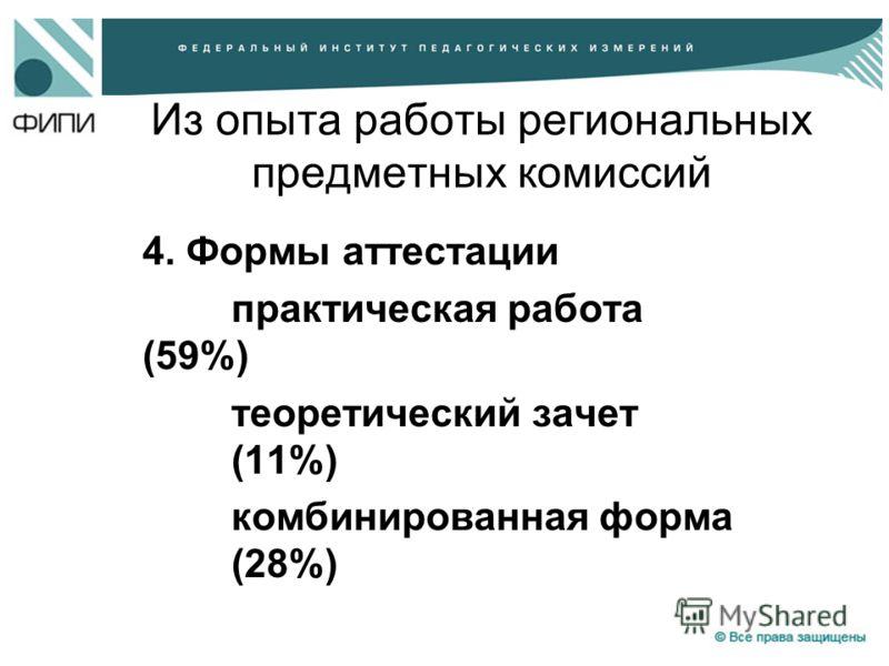 Из опыта работы региональных предметных комиссий 4. Формы аттестации практическая работа (59%) теоретический зачет (11%) комбинированная форма (28%)