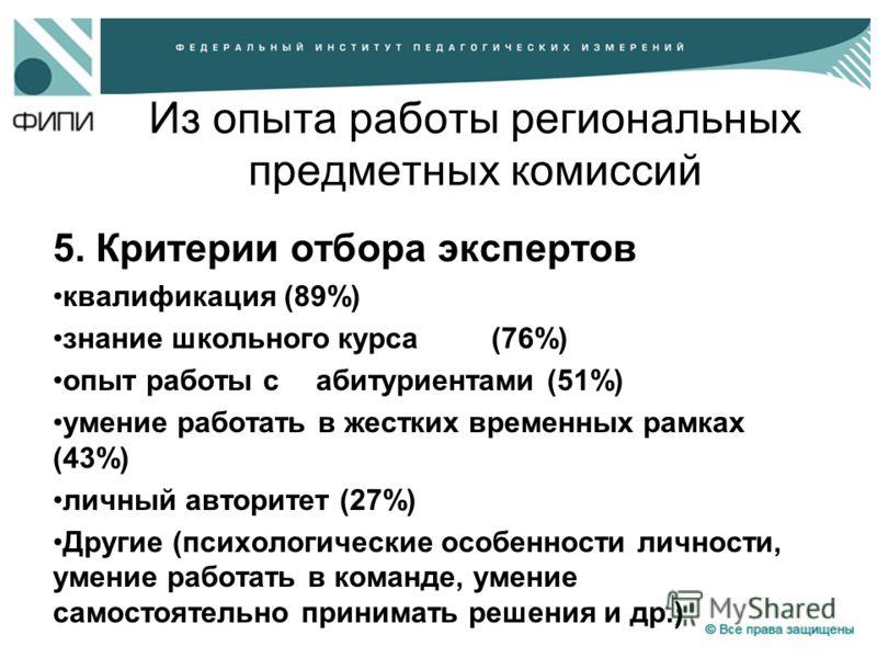 Из опыта работы региональных предметных комиссий 5. Критерии отбора экспертов квалификация (89%) знание школьного курса (76%) опыт работы с абитуриентами (51%) умение работать в жестких временных рамках (43%) личный авторитет (27%) Другие (психологич