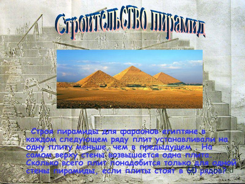 Строя пирамиды для фараонов египтяне в каждом следующем ряду плит устанавливали на одну плиту меньше, чем в предыдущем. На самом верху стены возвышается одна плита. Сколько всего плит понадобится только для одной стены пирамиды, если плиты стоят в 60