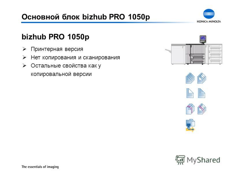 ØПринтерная версия ØНет копирования и сканирования ØОстальные свойства как у копировальной версии bizhub PRO 1050p Основной блок bizhub PRO 1050p