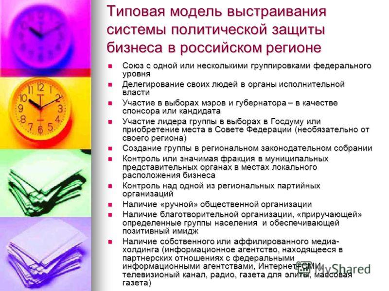 Типовая модель выстраивания системы политической защиты бизнеса в российском регионе Союз с одной или несколькими группировками федерального уровня Союз с одной или несколькими группировками федерального уровня Делегирование своих людей в органы испо