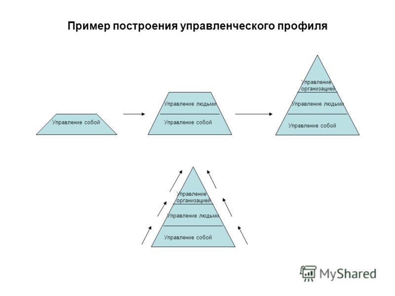 Пример построения управленческого профиля Управление собой Управление людьми Управление собой Управление людьми Управление организацией Управление собой Управление людьми Управление организацией