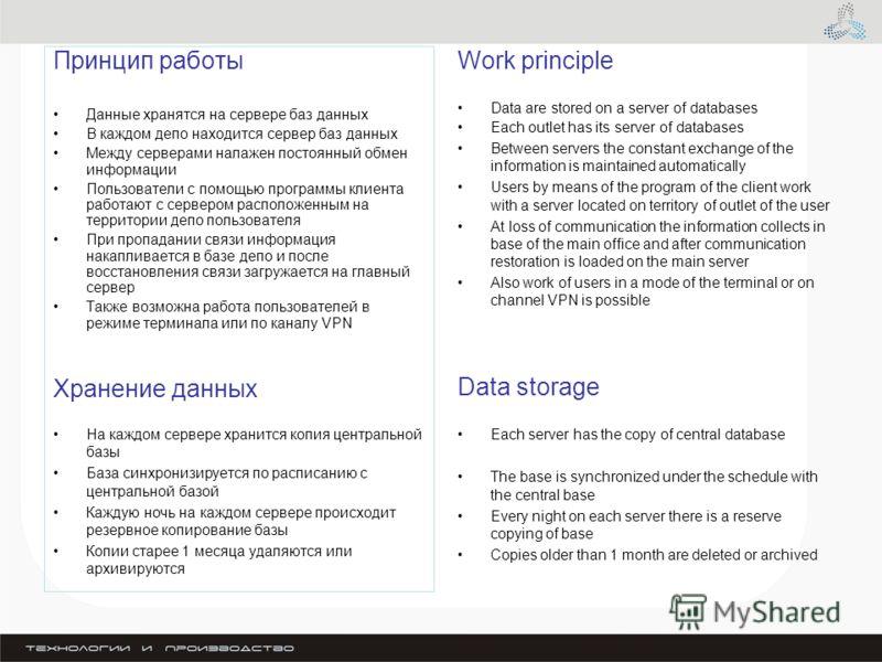 Принцип работы Данные хранятся на сервере баз данных В каждом депо находится сервер баз данных Между серверами налажен постоянный обмен информации Пользователи с помощью программы клиента работают с сервером расположенным на территории депо пользоват