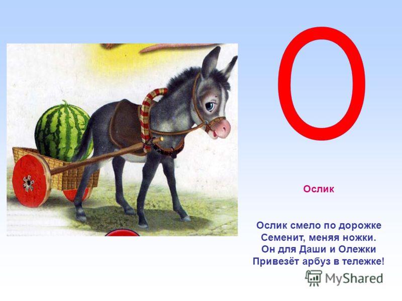 Ослик Ослик смело по дорожке Семенит, меняя ножки. Он для Даши и Олежки Привезёт арбуз в тележке!