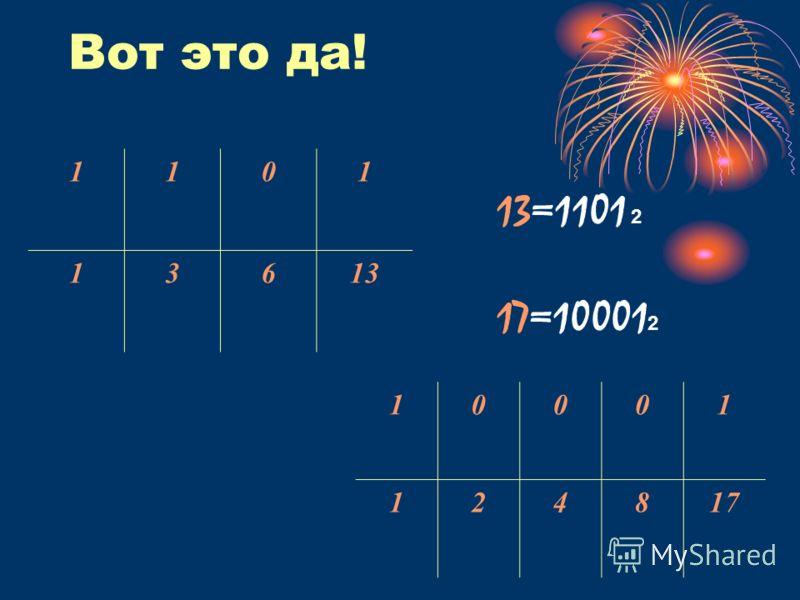 Вот это да! 1101 13613 10001 124817 13=1101 2 17=10001 2