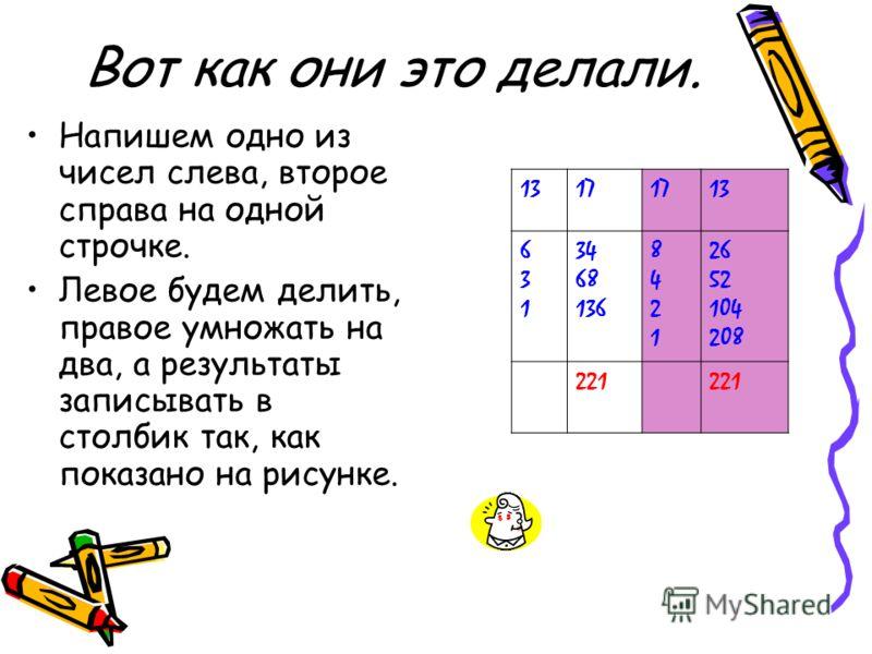 Вот как они это делали. Напишем одно из чисел слева, второе справа на одной строчке. Левое будем делить, правое умножать на два, а результаты записывать в столбик так, как показано на рисунке. 1317 13 631631 34 68 136 84218421 26 52 104 208 221