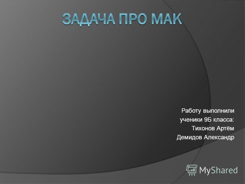 Работу выполнили ученики 9Б класса: Тихонов Артём Демидов Александр