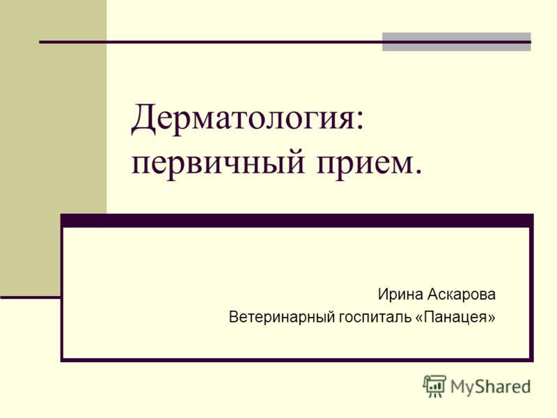 Дерматология: первичный прием. Ирина Аскарова Ветеринарный госпиталь «Панацея»