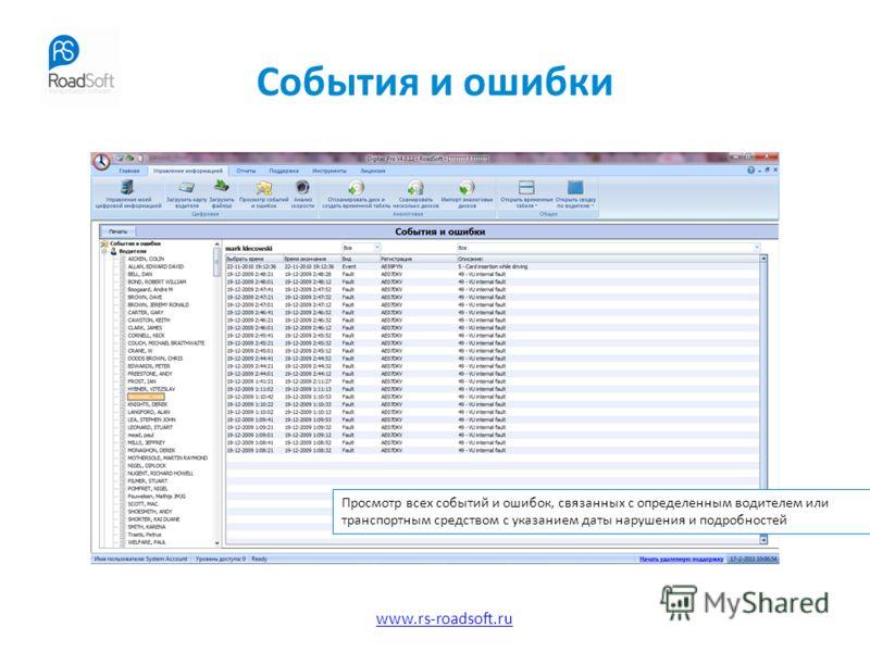 www.rs-roadsoft.ru События и ошибки Просмотр всех событий и ошибок, связанных с определенным водителем или транспортным средством с указанием даты нарушения и подробностей