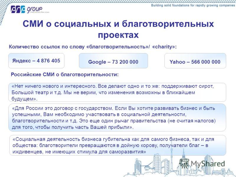 СМИ о социальных и благотворительных проектах Яндекс – 4 876 405 Google – 73 200 000Yahoo – 566 000 000 Количество ссылок по слову «благотворительность»/ «charity»: Российские СМИ о благотворительности: «Нет ничего нового и интересного. Все делают од