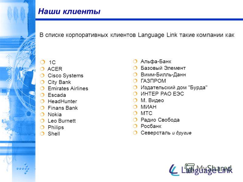 Наши клиенты 1C ACER Cisco Systems City Bank Emirates Airlines Escada HeadHunter Finans Bank Nokia Leo Burnett Philips Shell В списке корпоративных клиентов Language Link такие компании как Альфа-Банк Базовый Элемент Вимм-Билль-Данн ГАЗПРОМ Издательс