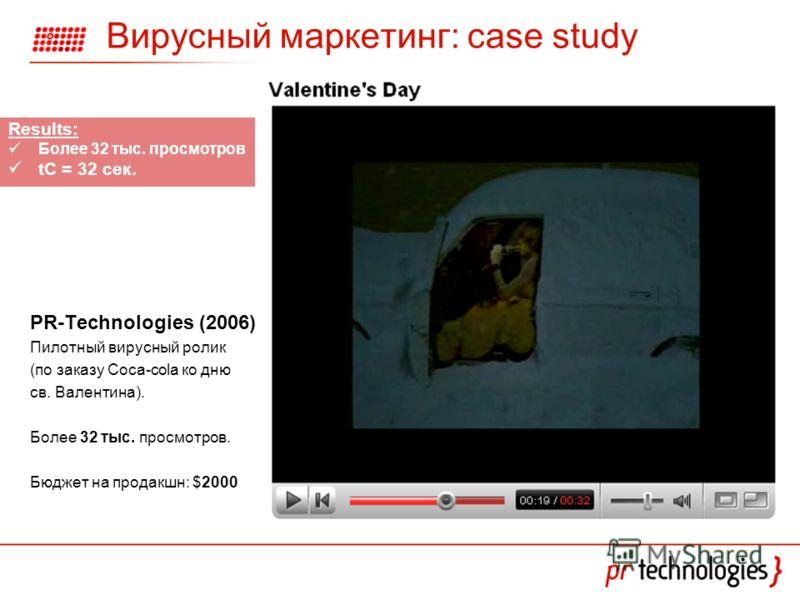 Вирусный маркетинг: case study PR-Technologies (2006) Пилотный вирусный ролик (по заказу Coca-cola ко дню св. Валентина). Более 32 тыс. просмотров. Бюджет на продакшн: $2000 Results: Более 32 тыс. просмотров tC = 32 сек.