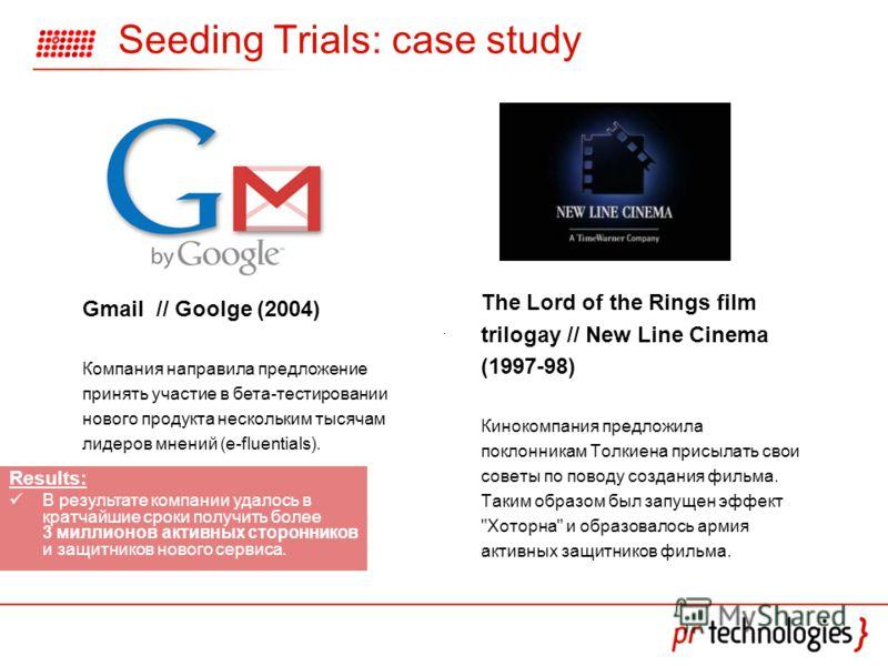 Seeding Trials: case study The Lord of the Rings film trilogay // New Line Cinema (1997-98) Кинокомпания предложила поклонникам Толкиена присылать свои советы по поводу создания фильма. Таким образом был запущен эффект
