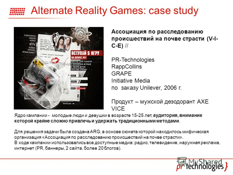 Alternate Reality Games: case study Ассоциация по расследованию происшествий на почве страсти (V-I- C-E) // PR-Technologies RappCollins GRAPE Initiative Media по заказу Unilever, 2006 г. Продукт – мужской дезодорант AXE VICE Ядро кампании - молодые л