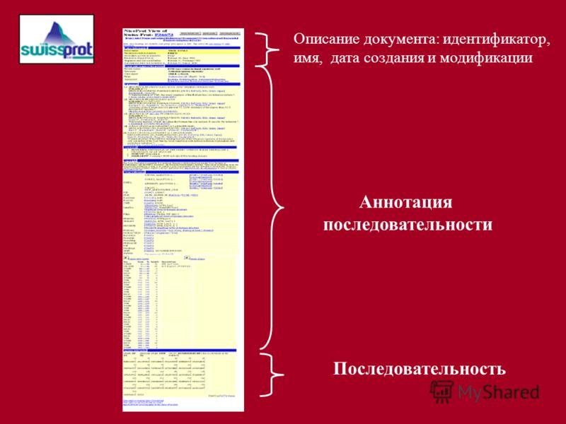 Описание документа: идентификатор, имя, дата создания и модификации Аннотация последовательности Последовательность