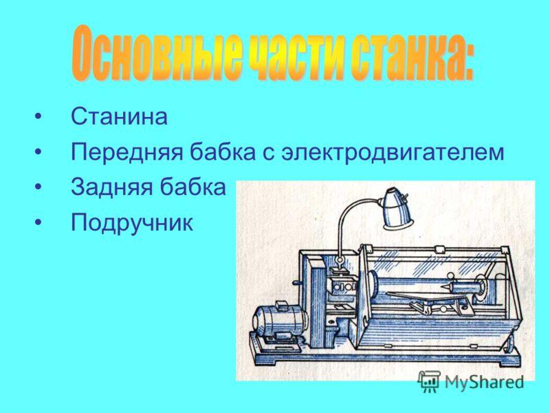 Станина Передняя бабка с электродвигателем Задняя бабка Подручник