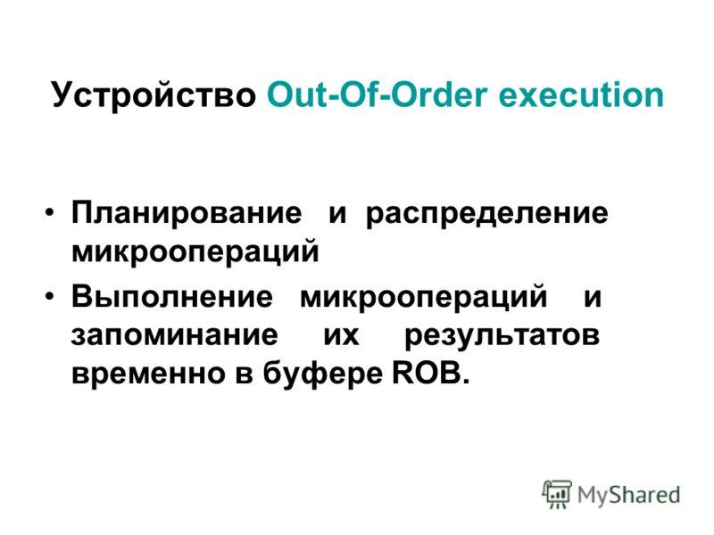 Устройство Out-Of-Order execution Планирование и распределение микроопераций Выполнение микроопераций и запоминание их результатов временно в буфере ROB.
