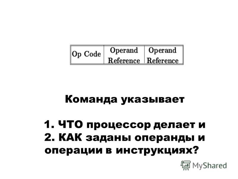Команда указывает 1. ЧТО процессор делает и 2. КАК заданы операнды и операции в инструкциях?