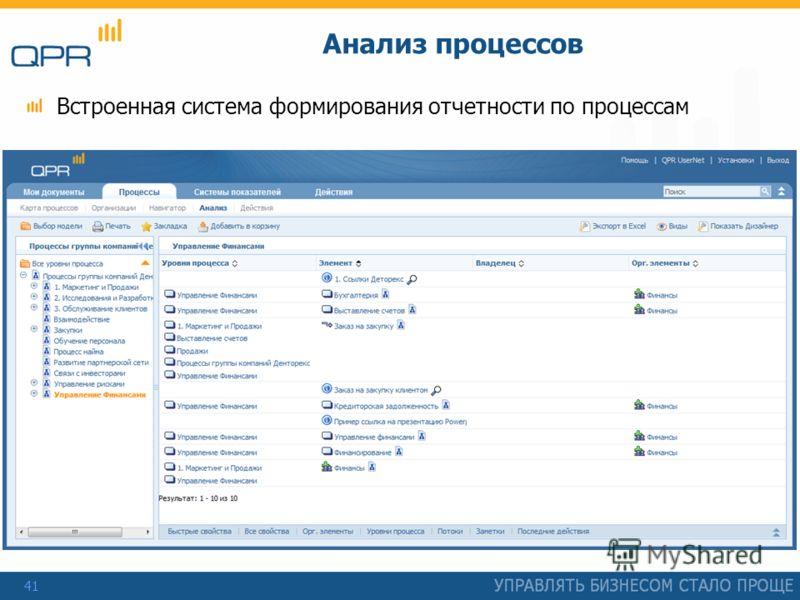 41 Анализ процессов Встроенная система формирования отчетности по процессам