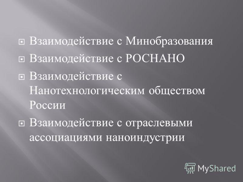 Взаимодействие с Минобразования Взаимодействие с РОСНАНО Взаимодействие с Нанотехнологическим обществом России Взаимодействие с отраслевыми ассоциациями наноиндустрии