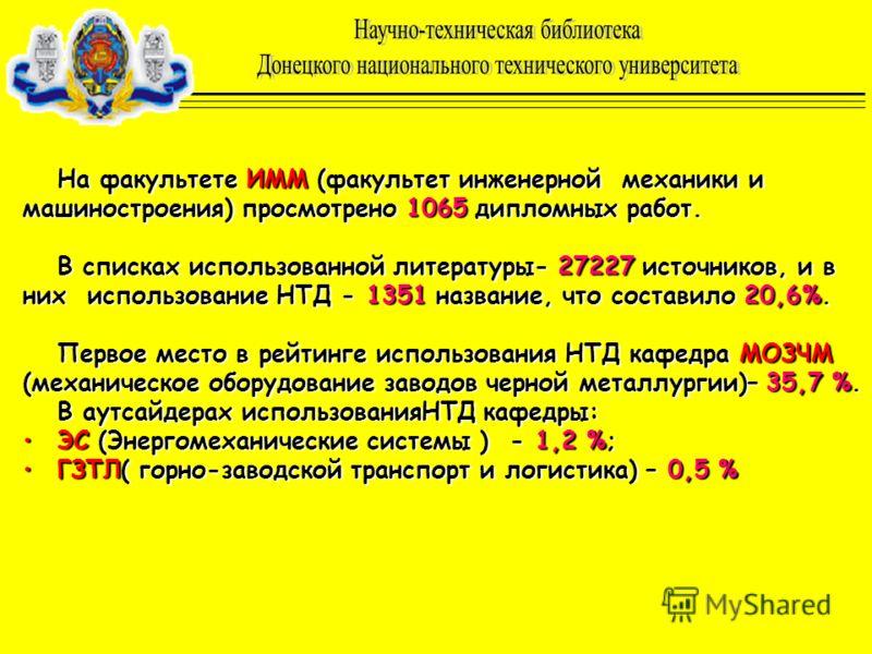 На факультете ИММ (факультет инженерной механики и машиностроения) просмотрено 1065 дипломных работ. В списках использованной литературы- 27227 источников, и в них использование НТД - 1351 название, что составило 20,6%. Первое место в рейтинге исполь