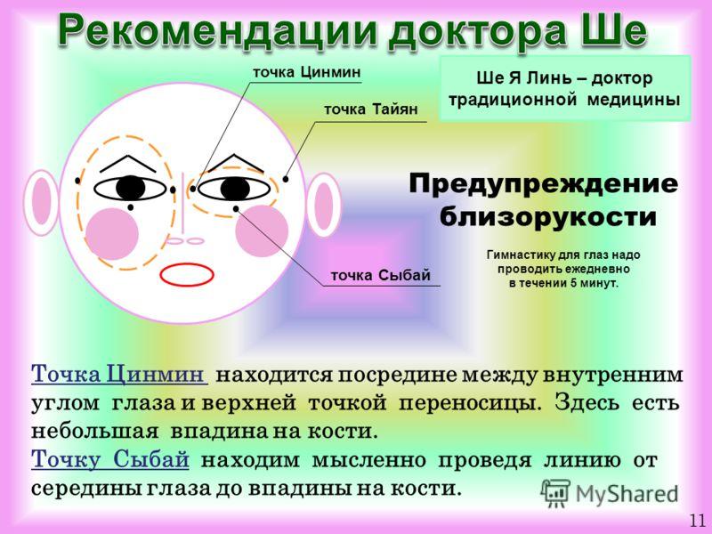 Ше Я Линь – доктор традиционной медицины 11 точка Цинмин точка Тайян точка Сыбай Предупреждение близорукости Гимнастику для глаз надо проводить ежедневно в течении 5 минут. Точка Цинмин находится посредине между внутренним углом глаза и верхней точко