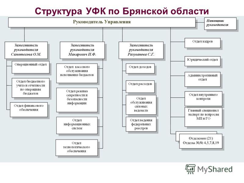 Структура УФК по Брянской области