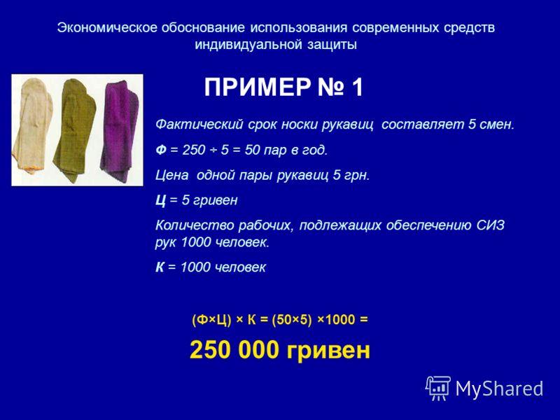 Экономическое обоснование использования современных средств индивидуальной защиты ПРИМЕР 1 Фактический срок носки рукавиц составляет 5 смен. Ф = 250 ÷ 5 = 50 пар в год. Цена одной пары рукавиц 5 грн. Ц = 5 гривен Количество рабочих, подлежащих обеспе