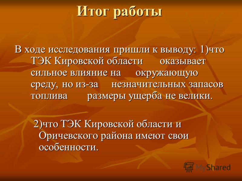 Итог работы В ходе исследования пришли к выводу: 1)что ТЭК Кировской области оказывает сильное влияние на окружающую среду, но из-за незначительных запасов топлива размеры ущерба не велики. 2)что ТЭК Кировской области и Оричевского района имеют свои