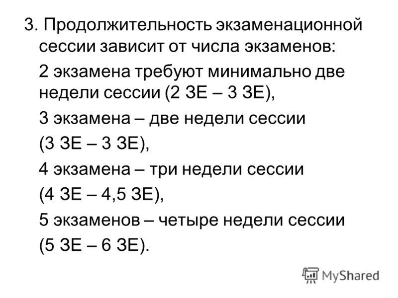 3. Продолжительность экзаменационной сессии зависит от числа экзаменов: 2 экзамена требуют минимально две недели сессии (2 ЗЕ – 3 ЗЕ), 3 экзамена – две недели сессии (3 ЗЕ – 3 ЗЕ), 4 экзамена – три недели сессии (4 ЗЕ – 4,5 ЗЕ), 5 экзаменов – четыре