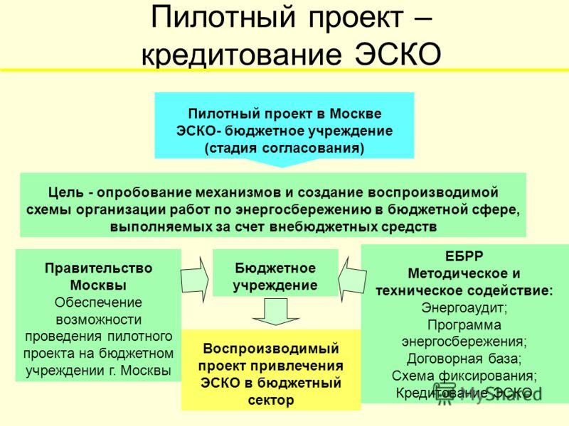 Пилотный проект – кредитование ЭСКО Бюджетное учреждение Цель - опробование механизмов и создание воспроизводимой схемы организации работ по энергосбережению в бюджетной сфере, выполняемых за счет внебюджетных средств Правительство Москвы Обеспечение