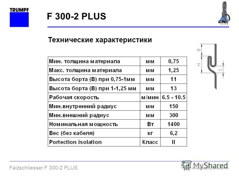 Falzschliesser F 300-2 PLUS TCHG Vertretertagung Januar 2004 F 300-2 PLUS Технические характеристики