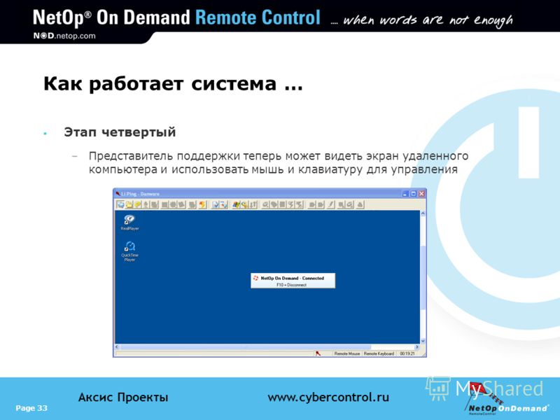 Page 33 Аксис Проектыwww.cybercontrol.ru Как работает система … Этап четвертый –Представитель поддержки теперь может видеть экран удаленного компьютера и использовать мышь и клавиатуру для управления