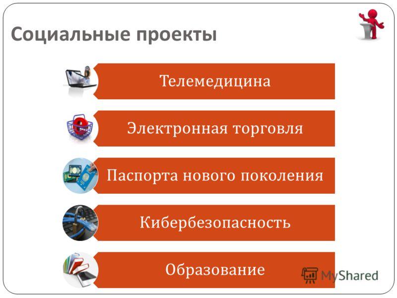 Социальные проекты Телемедицина Электронная торговля Паспорта нового поколения Кибербезопасность Образование