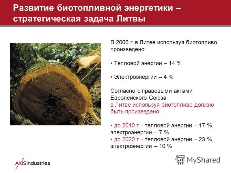 В 2006 г. в Литве используя биотопливо произведено: Тепловой энергии – 14 % Электроэнергии – 4 % Согласно с правовыми актами Европейского Союза в Литве используя биотопливо должно быть произведено: до 2010 г. - тепловой энергии – 17 %, электроэнергии