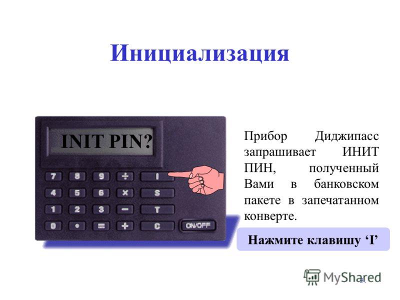 3. Инициализация 0 Нажмите клавишу I INIT PIN? Прибор Диджипасс запрашивает ИНИТ ПИН, полученный Вами в банковском пакете в запечатанном конверте.