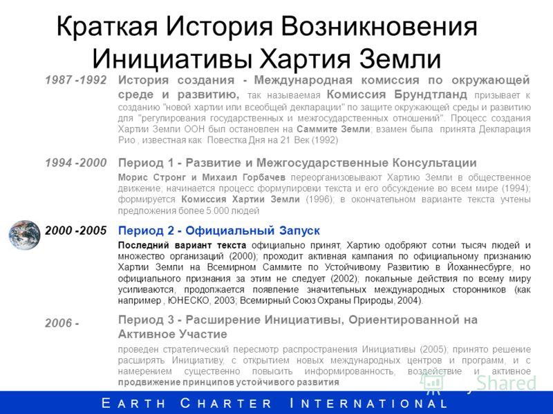 E A R T H C H A R T E R I N T E R N A T I O N A L Краткая История Возникновения Инициативы Хартия Земли 1987 -1992История создания - Международная комиссия по окружающей среде и развитию, так называемая Комиссия Брундтланд призывает к созданию