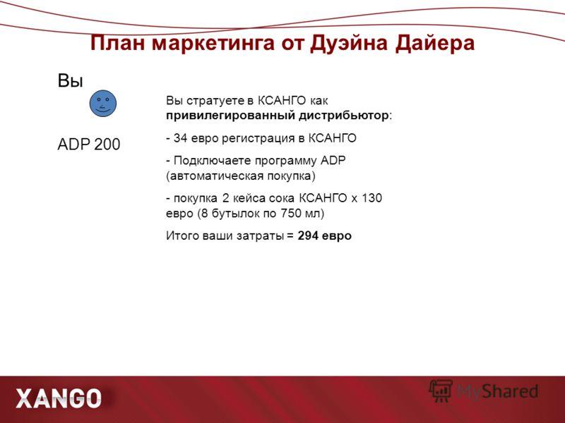 План маркетинга от Дуэйна Дайера ۧ Вы стратуете в КСАНГО как привилегированный дистрибьютор: - 34 евро регистрация в КСАНГО - Подключаете программу ADP (автоматическая покупка) - покупка 2 кейса сока КСАНГО х 130 евро (8 бутылок по 750 мл) Итого ваши