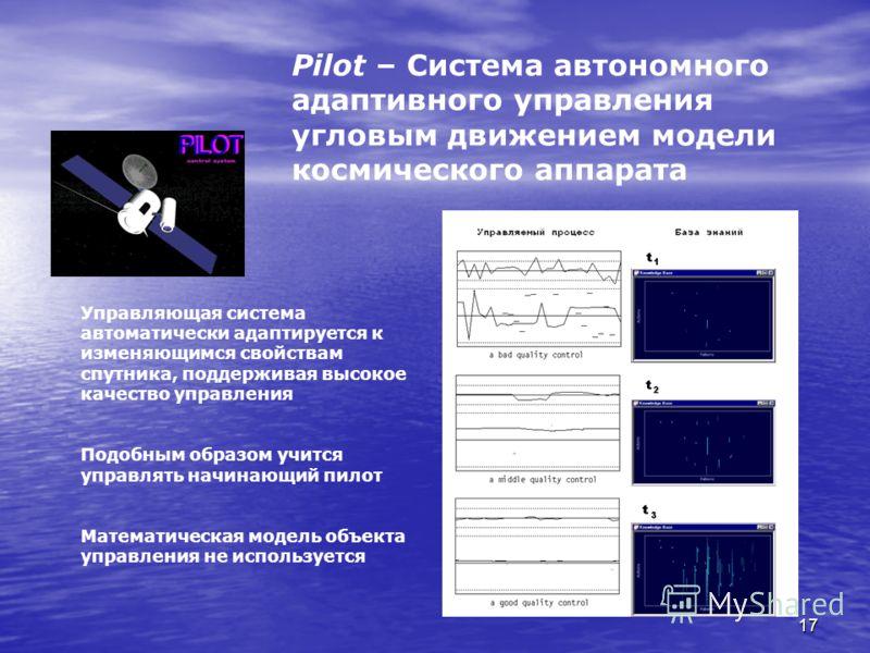 17 Pilot – Система автономного адаптивного управления угловым движением модели космического аппарата Управляющая система автоматически адаптируется к изменяющимся свойствам спутника, поддерживая высокое качество управления Подобным образом учится упр
