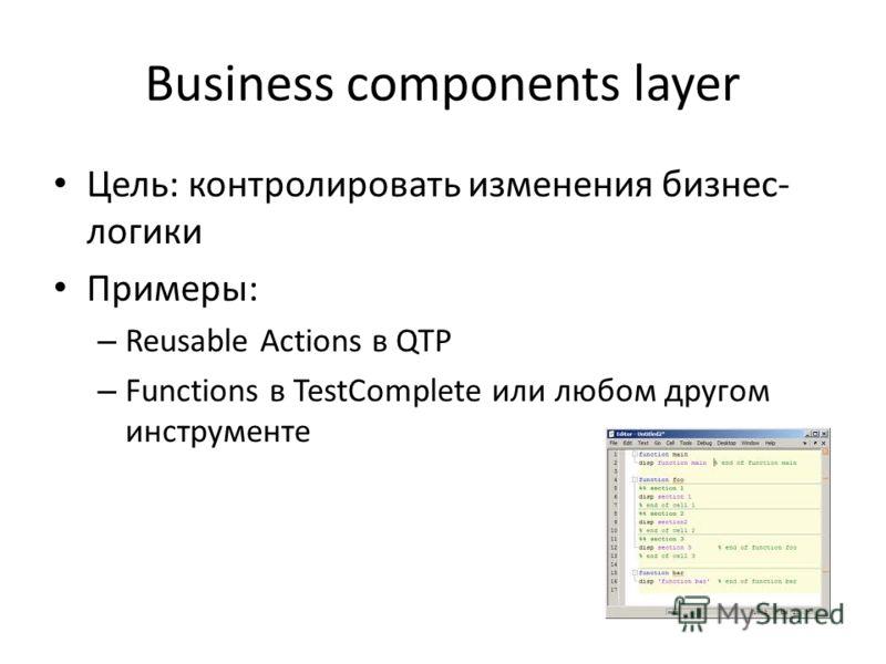 Business components layer Цель: контролировать изменения бизнес- логики Примеры: – Reusable Actions в QTP – Functions в TestComplete или любом другом инструменте